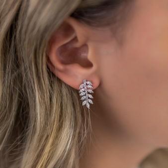 Νυφικά σκουλαρίκια με κρύσταλλα σε σχήμα φύλλων